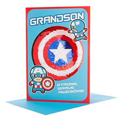 Hallmark Reversible Sequin Grandson Birthday Card 'Captain America' - Medium