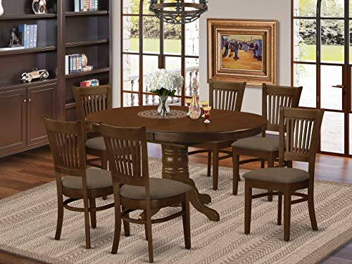 East West Furniture KEVA7-ESP-C 7-Piece Dining Set - Round Top Dining Room Table - 6 Dining Chairs Slatted Back and Linen Fabric Seat (Espresso Finish)