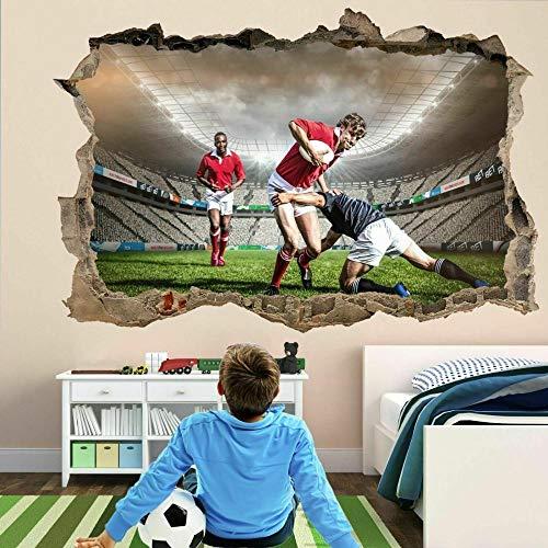 OMCCXO 3D Vinilos Decorativos Personalizados a Todo Color Rugby Stadium Players Mural de la Calcomanía de Las Etiquetas Engomadas del Arte de la Pared Agrietado 15.7x23.6inch(40x60cm)