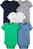 Carter's Baby Boys 5 Pack Bodysuit Set, Airplane, 9 Months