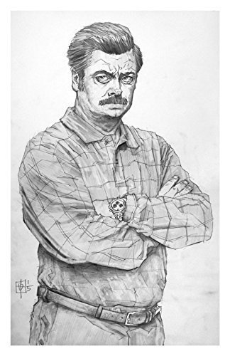 You had me at meat tornado Ron Swanson Giclee print from a pencil drawing