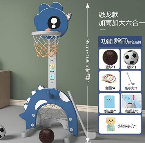 Fineday 4 in 1 Adjustable Basketball Hoop Stand with Basketball/Ring Toss/Soccer/Goal, Sports & Outdoor Play, Shipping from The United States (Multicolour)