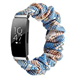 Chofit Strap Compatible with Fitbit Inspire 2/Inspire HR/Inspire Straps, Replacement Scrunchies Arm Band Chiffon Satin Wristband for Women for Inspire 2 Fitness Tracker Large/Small (Small, Blue-Star)