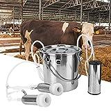 HEEPDD 5L Elektrische Melkmaschine Kit, Minitype Tragbare Edelstahl Doppelkopf Melkmaschine Haushalt Elektrische Schafe Ziege Kuh Melkmaschine mit Vakuum-Impulspumpe(für Cow EU Plug)