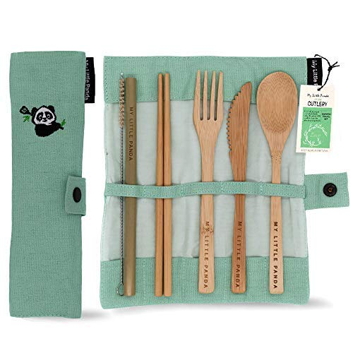 My Little Panda 19cm Bamboo Lunch Set with Sea Green Roll-Up Organic Hemp Carry Pouch