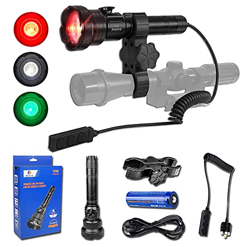 Brinyte T28 Hunting Flashlight with 3 Light Types of Instant Switch, Zoomable Predator Flashlight Torch with Stepless Dimmer Switch for Hunting-2 Rechargeable Batteries, 1 Remote Switch