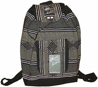 No Bad Days Baja Backpack Ethnic Woven Mexican Bag - Gray, Black, White - Medium