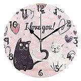 LDIYEU Gato De Amor Blanco Negro Reloj de Pared Silencioso Decorativo Madera Vintage Relojs para Niños Niñas Cocina Dormitorio Hogar Oficina Escuela Decoración