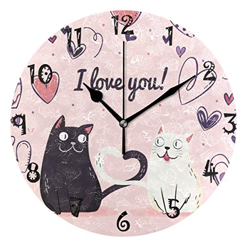 LDIYEU Gato De Amor Blanco Negro Reloj de Pared Silencioso Decorativo Madera...