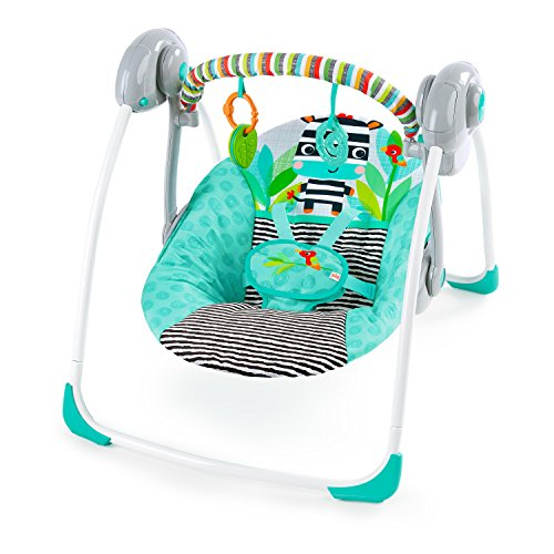 Bright Starts Zig Zag Zebra Portable Swing with Whisperquiet Technology