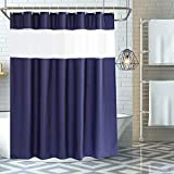 GUJIN Duschvorhang 180x180cm, Duschvorhänge aus Polyester Antischimmel Wasserdichter Waschbar Anti-Bakteriell Badewanne Vorhang mit 12 Duschvorhängeringen (Blau)