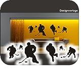 Aufkleber2009 6 Eishockeyspieler I Eishockey I Puck I Wandtattoo !! bei jeder Größe Beschreibung lesen Bitte !! Verschiedene Größen und 27 Farben (ca.200 cm x 64 cm)