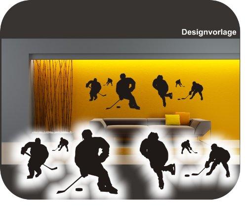6 Eishockeyspieler I Eishockey I Puck I Wandtattoo !! bei jeder Größe Beschreibung lesen bitte !! verschiedene Größen und 27 Farben (ca.150 cm x 48 cm)
