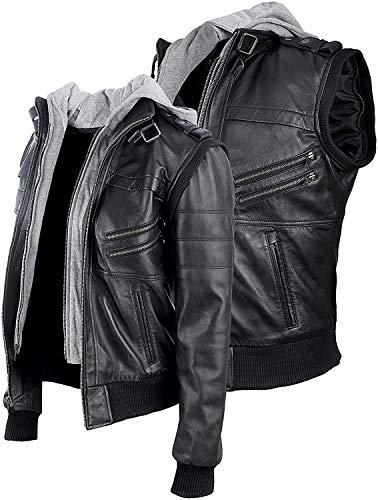 HiFacon Chaqueta de piel auténtica estilo bombardero para motocicleta, capucha y manga extraíbles - negro - X-Small