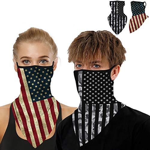 2 Pcs Bandana Face Mask Balaclava Neck Gaiters with Ear Loops American Flag Outdoor Mask Bandana Balaclava Face Scarf Headwear Bandanas Headband Scarf Sun UV Wind Protection Balaclava for Women Men