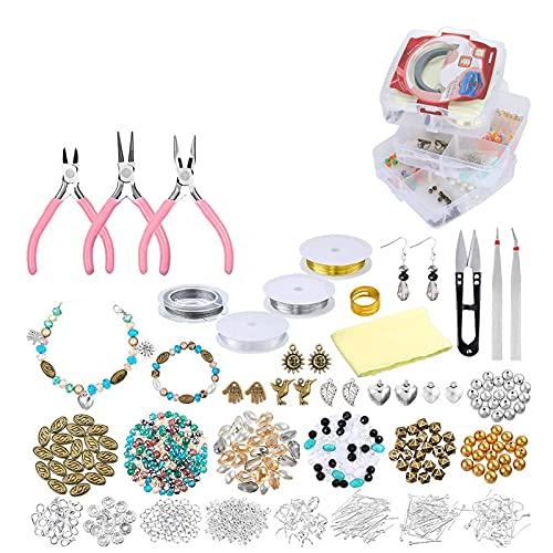 804 piezas Kit de inicio de joyería para cuentas, collar, pulsera, pendientes, fabricación de bricolaje para adultos, principiantes, regalo de Navidad