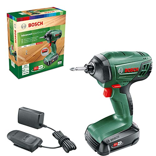 Bosch Cordless Impact Driver AdvancedImpactDrive 18 (1 rechargeable Battery, 18V System, in Carton Packaging)