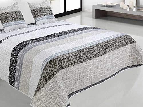 Zweiseitige Tagesdecke Bettüberwurf 3 Tlg. 220x240 cm +2 Kissenbezüge Tavira Weiß Grau Schwarz- J-002