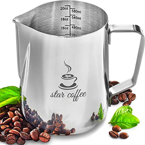 Star Coffee Milk Frothing Pitcher Stainless Steel Milk Frother Cup - Barista Milk Pitcher Espresso Cappuccino Latte Art Milk Jug Steaming Pitchers 20oz