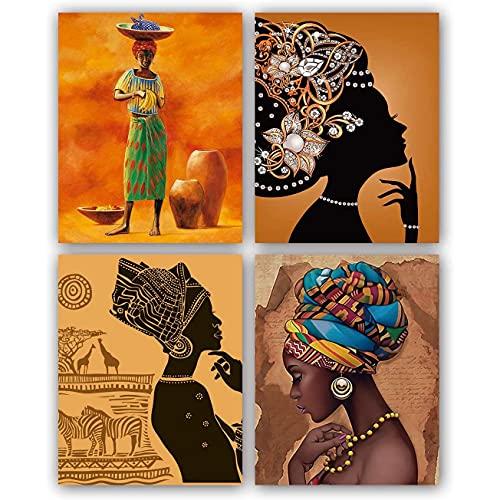 KU Syang Conjunto de 4 Pinturas de Arte de Pared de Mujer Negra Antigua éTnica Afroamericana (Cuadro de Lienzo de 8X10 Pulgadas) para PóSter de HabitacióN de Oficina
