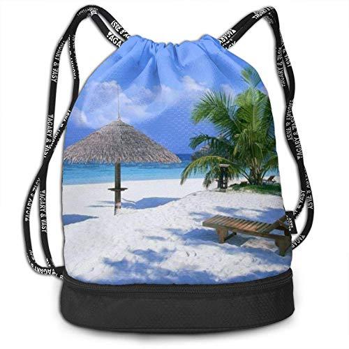 DJNGN Mochila del Lazo, Bolso de la Mochila del Paquete del Gimnasio del Viaje del Deporte de la impresión de la Silla de la Palma del árbol de Coco de la Playa