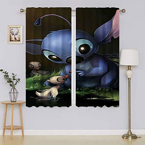 Cortinas opacas The Adventures of Lilo & Stitch para oscurecer la habitación, aislamiento térmico, cortinas para ventanas de dormitorio de 106 x 137 cm