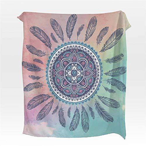 WarDend Manta de Franela de atrapasueños Mandala Boho Manta de vellón de Coral para Camas Láminas cálidas Bohemias Rosa y Azul Manta-150 cm x 200 cm