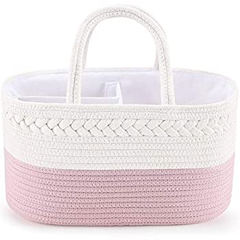 Baby Diaper Caddy Organizer ABenkle Cotton Rope Diaper Storage Basket Portable Baby Caddy Basket for Girl's Nursery Diaper Organizer for Changing Table - Newborn Gift Basket for Baby Shower(Pink)