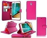 Vodafone Smart Prime 7 - Funda tipo libro para Vodafone Smart Prime 7 (piel, incluye protector de pantalla), color rosa