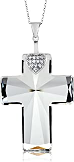 Sterling Silver Cross Pendant Necklace & Chain Made with Swarovski Crystals