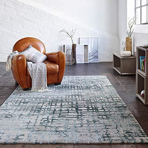 ESPRIT Velvet Grid Moderner Markenteppich, Polypropylen/Polyester, Petrol, 170 x 120 x 1.2 cm