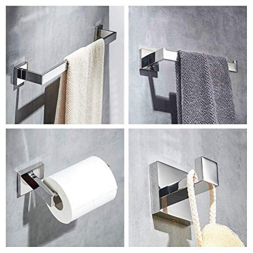Preisvergleich Produktbild YVX 4-teiliges modernes Chrom-Badezimmerzubehörset - Handtuchhalter,  Handtuchring,  Toilettenpapierhalter,  Kleiderhaken