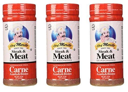 Chef Merito Carne Asada Meat Seasoning, 14 Ounce (Pack of 3) (Best Carne Asada Fries In Las Vegas)