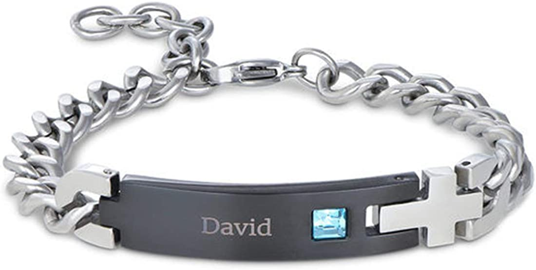 Personalized Men's ID Safety and trust Bracelet Black Stainless Beauty products C Nameplate Steel