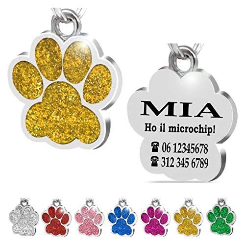 Iberiagifts - Zampa in Acciaio Targhetta Medaglietta identificativa Personalizzata per Collare Cane Gatto Animale Domestico con incisione (D'oro)
