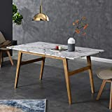 Cherry Tree Furniture ASCONA White Marble Effect 6-Seater Dining Table with Solid Oak Legs