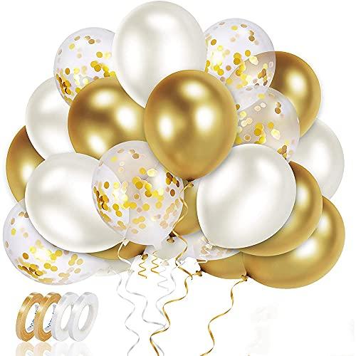 Meromore Luftballons Metallic Gold Set, 70 Stück Luftballons Golden Konfetti & Helium Balloons mit Bändern, Latex Ballons für Hochzeit, Geburtstag, Babyparty, Graduierung, Deko, 12 Zoll