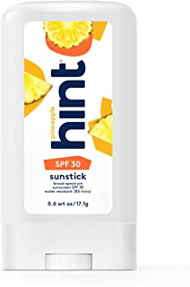 Hint Sunstick, SPF 30, 0.6 fl oz, Oxybenzone Free, Paraben Free (Pineapple), Broad Spectrum SPF 30 Glide-On Sunstick, Water Resistant, Pineapple Scented