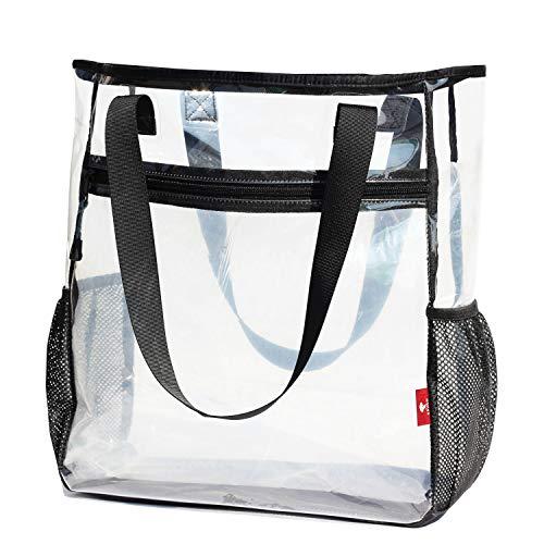 Grandes bolsas de asas transparentes para trabajo pesado bolso de hombro transparente viaje playa trabajo gimnasio estadio aprobado, Transparente, Large