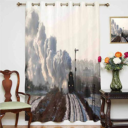 Steam Engine Blackout Curtain Train on Rails Winter Snow Landscape Steel Industrial Theme Rural Town Print Thermal Backing Sliding Glass Door Drape ,Single Panel 63x84 inch,for Glass Door Light Grey