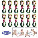Anpro 12pcs Cats Cradle Corde Rainbow 165cm Toy Jeu Doigt Corde à Doigts Jeu Ficelle Doigts Cats Cradle String avec Carte Modèle pour Enfants