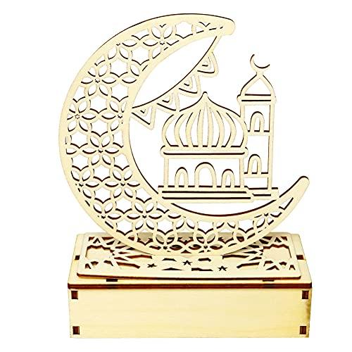 Ramadan - Farolillo de media luna con estrellas del Islam Eid, luz nocturna para el Eid musulmán, decoración esencial para Ramadán, estrellas y luces de Ramadán, luz islámica