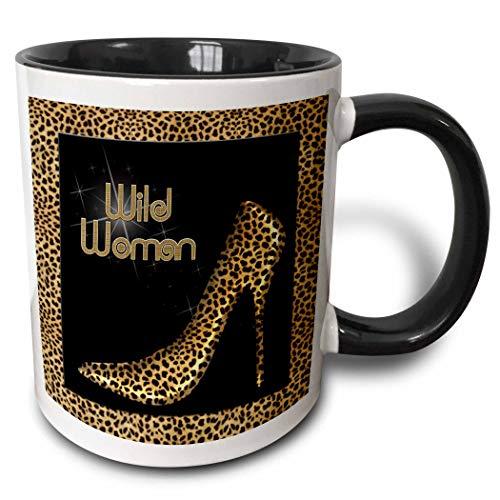 Zapatos de tacón de aguja con estampado de guepardo Wildly Woman y taza negra de dos tonos con diamantes brillantes, 11 oz, multicolor