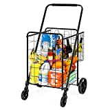 Best Choice Products 24.5x21.5in Portable Folding Multipurpose Steel Storage Utility Cart Dolly for Shopping, Groceries, Laundry w/Bonus Basket, Swivel Double Front Wheels, Black