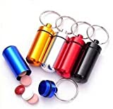 Tool Gadget 5Pcs Outdoor Hiking Camping Aluminum Keychain Round Pill Bottle, Travel Portable Pill Box Keyring Tablet Box Container for Home Storage & Organization
