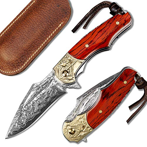 NEWOOTZ Handmade Damascus Folding Pocket Knife with Leather Sheath,Liner Lock Copper and Rosewood Handle,2.5in Japanese VG10 Steel Core Blade EDC Knives for Men Camping