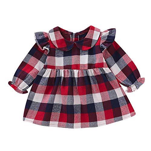 Kobay Babykleid Festlich Langarm Long Lantern Sleeve Rüschen Mädchen Plaid Princess Dress Cloth(3-6M,Rot)