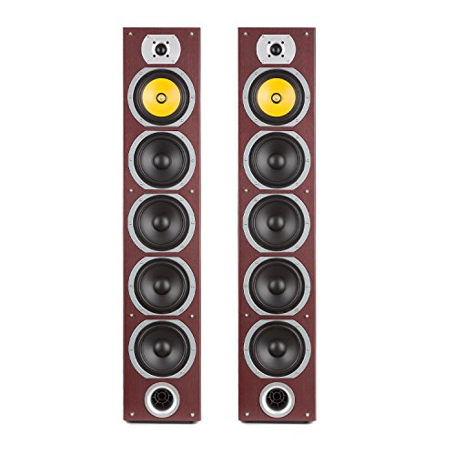 auna V7B Caoba Edition - Altavoces de Torre pasivos de 4 vías, Potencia 440W, Sonido Envolvente, Set de Altavoces, Subwoofer de 6,5