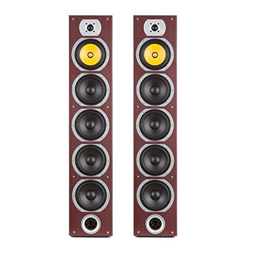 auna V7B Caoba Edition - Altavoces de Torre pasivos de 4 vías, Potencia 440W, Sonido Envolvente, Set de Altavoces, Subwoofer de 6,5'', Altavoz de Tonos Medios de 6,5'', Altavoz para Agudos, Marrón