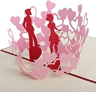 Valentine Day Gift 3D Pop Up Kissing Couple Handmade Greeting Cards to Wife Girlfriend for Birthday Romantic Anniversary Wedding(include envelope and sticker seal)